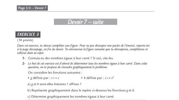 devoir math 3eme math
