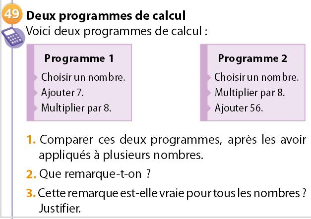 Programme de calcul pour demain 3ème Mathématiques
