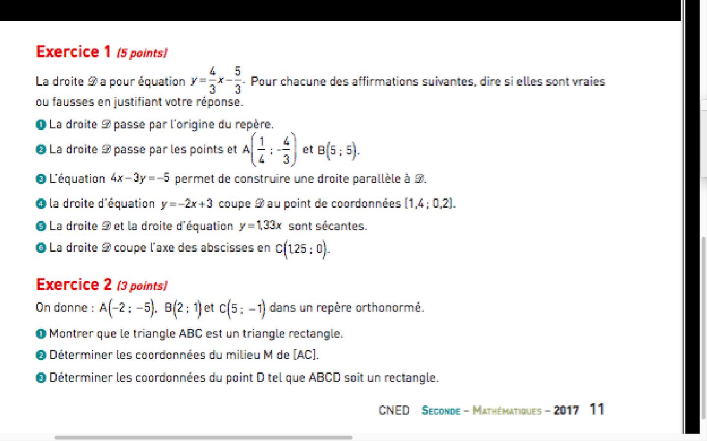 Exercice numéro 2 Cned seconde 2nde Mathématiques
